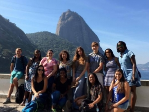 Group photo of Duke in Brazil at Pao de Acucar